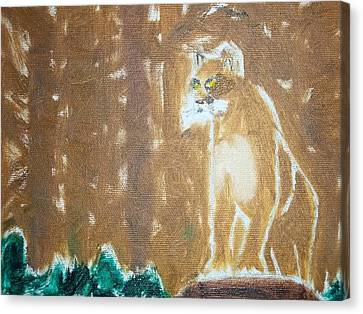 Mountain Lion Oil Painting Canvas Print by William Sahir House