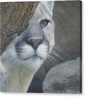 Mountain Lion Painterly Canvas Print by Ernie Echols