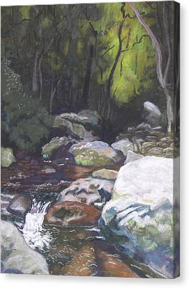 Canvas Print featuring the pastel Mountain Stream At Dusk by Robert Decker