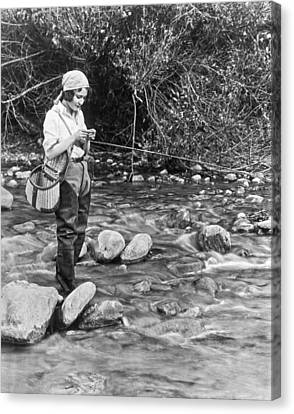 Movie Actress Trout Fishing Canvas Print by Underwood Archives