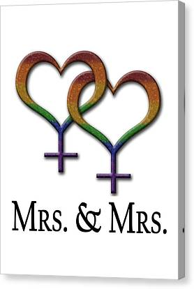 Mrs. And Mrs. Lesbian Pride  Canvas Print by Tavia Starfire