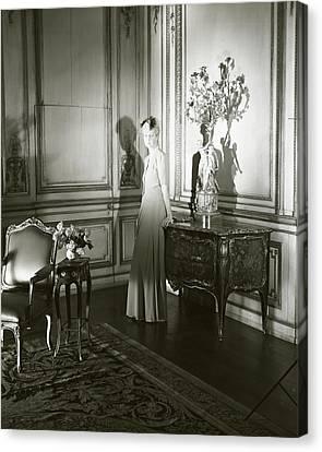 Mrs. Jacques Vanderbilt In An Ornate Room Canvas Print