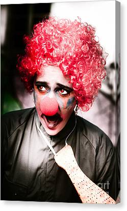 Ms Frightened The Scared Clown Canvas Print