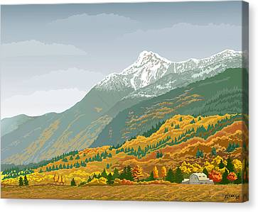 Mt Cheam In Autumn Canvas Print by Artellus Artworks