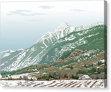 Mt Cheam In Winter Canvas Print by Artellus Artworks