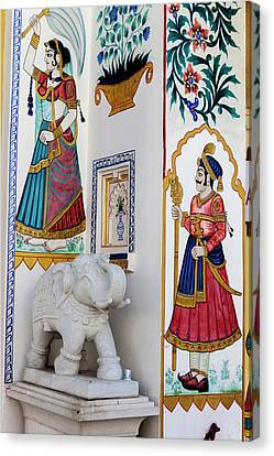 Mural Canvas Print - Mural City Palace Shiw Nivas Palace by Tom Norring