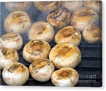 Button Mushrooms Canvas Print - Mushrooms On Grill by Sinisa Botas