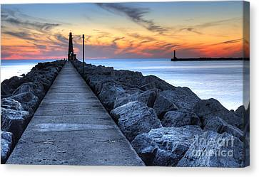 Muskegon Pier And Lighthouse Canvas Print by Twenty Two North Photography
