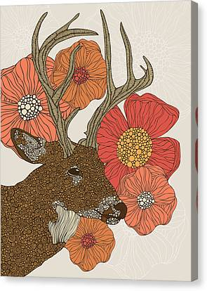 Floral Canvas Print - My Dear Deer by Valentina Ramos