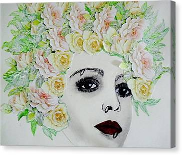 My Flowered Hat Canvas Print by Suzanne Thomas