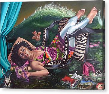 my private Tsunami Canvas Print by Shelley Laffal