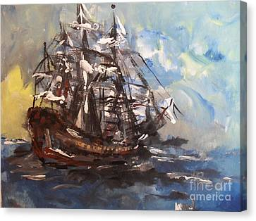 Canvas Print featuring the painting My Ship by Laurie Lundquist