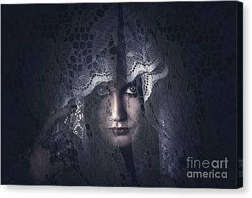 Mysterious Female Mystic Veiled In Lace Secrecy  Canvas Print by Jorgo Photography - Wall Art Gallery