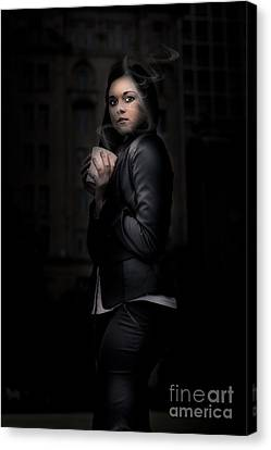 Sombre Canvas Print - Mysterious Woman Standing In Darkness With Coffee by Jorgo Photography - Wall Art Gallery