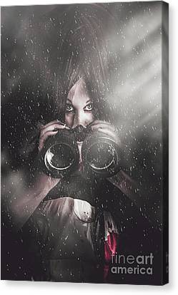 Mystery Killer Woman Spying In Dark Shadows Canvas Print