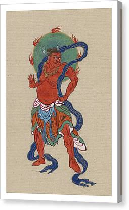 Mythological Buddhist Or Hindu Figure Circa 1878 Canvas Print by Aged Pixel
