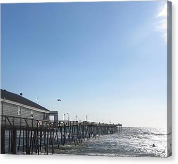 Nags Head Pier Canvas Print by Cathy Lindsey