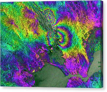 Napa Valley Earthquake Canvas Print by Esa/ppo.labs/norut/comet-seom Insarap Study