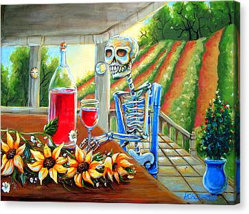 Napa Wine Skeleton Canvas Print by Heather Calderon