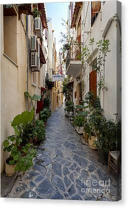 Medieval Entrance Canvas Print - Narrow Streets In Chania Greece by Frank Bach