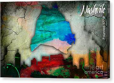 Nashville Skyline And Map Watercolor Canvas Print