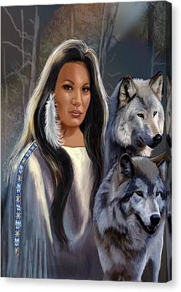 Native American Maiden With Wolves Canvas Print by Regina Femrite