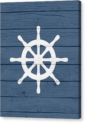 Pirate Ships Canvas Print - Nautical Wheel by Tamara Robinson