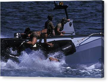 Navy Seals Practice High Speed Boat Canvas Print