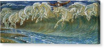 Neptune's Horses Canvas Print by Walter Crane