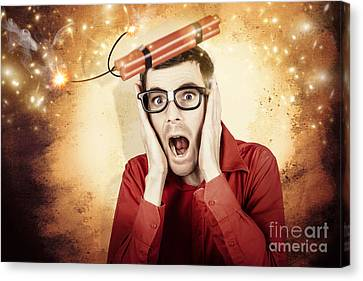 Nerd Business Man Shouting Out In Fear Of A Bomb Canvas Print by Jorgo Photography - Wall Art Gallery