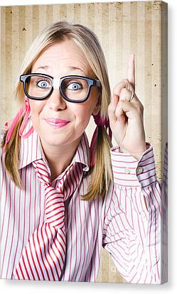 Youthful Canvas Print - Nerd Female Salesman Pointing To Product Copyspace by Jorgo Photography - Wall Art Gallery