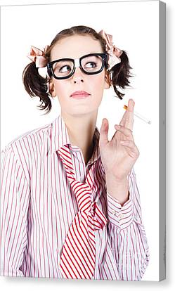 Nerd Girl Smoking Canvas Print