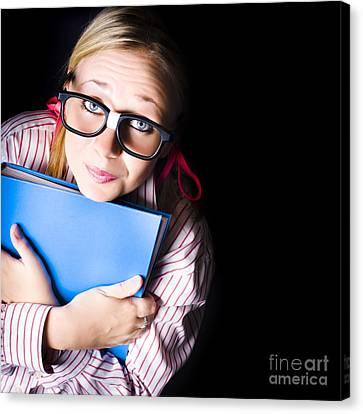 Nerd Grade School Student Holding Textbook Canvas Print by Jorgo Photography - Wall Art Gallery