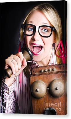 Nerdy Pr Business Person Making Announcement Canvas Print by Jorgo Photography - Wall Art Gallery