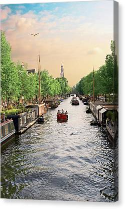 Netherlands, Amsterdam, Boats Cruise Canvas Print by Miva Stock