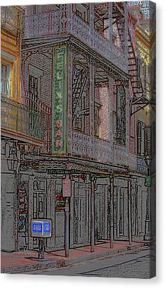 New Orleans - Bourbon Street With Pencil Effect Canvas Print by Frank Romeo