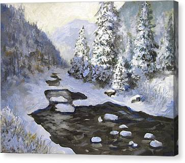 Canvas Print featuring the painting New Snow by Carol Hart