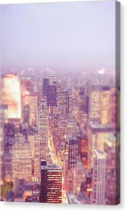Rooftop Canvas Print - New York City - Skyline Lights At Dusk by Vivienne Gucwa