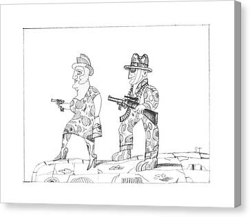 New Yorker February 20th, 1995 Canvas Print by Saul Steinberg
