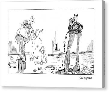 New Yorker February 23rd, 1976 Canvas Print by Saul Steinberg