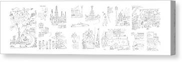 New Yorker January 27th, 1951 Canvas Print by Saul Steinberg