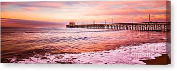 Newport Beach Pier Sunset Panorama Photo Canvas Print by Paul Velgos