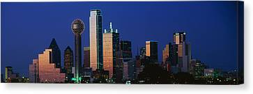 Night, Cityscape, Dallas, Texas, Usa Canvas Print by Panoramic Images