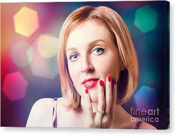 Night Fashion Photo. Beauty Model In Diamond Ring Canvas Print by Jorgo Photography - Wall Art Gallery