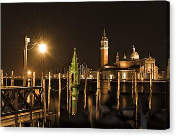 Canvas Print featuring the photograph Night Lights by Marion Galt