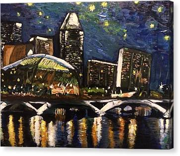 Night On The River Canvas Print by Belinda Low