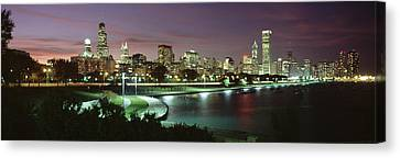 Night Skyline Chicago Il Usa Canvas Print by Panoramic Images