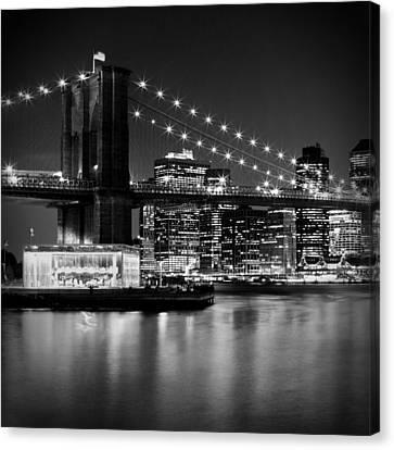 Night Skyline Manhattan Brooklyn Bridge Bw Canvas Print by Melanie Viola