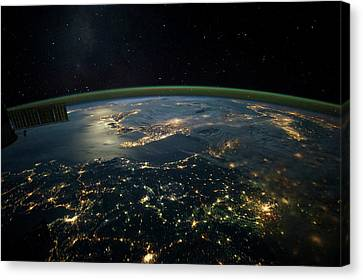 Satellite View Canvas Print - Night Time Satellite View Of Planet by Panoramic Images