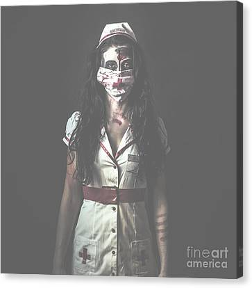 Nightmare Nurse Standing Dead In Haunted Hospital Canvas Print by Jorgo Photography - Wall Art Gallery